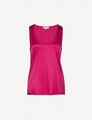 REISS: Remey silk-satin and jersey vest top