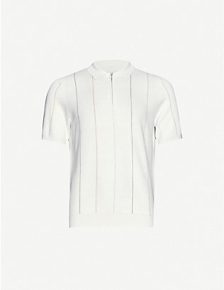 REISS: Renfrew striped knitted polo shirt