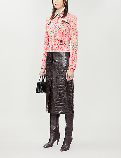 VESTIAIRE Celine geometric-pattern denim jacket