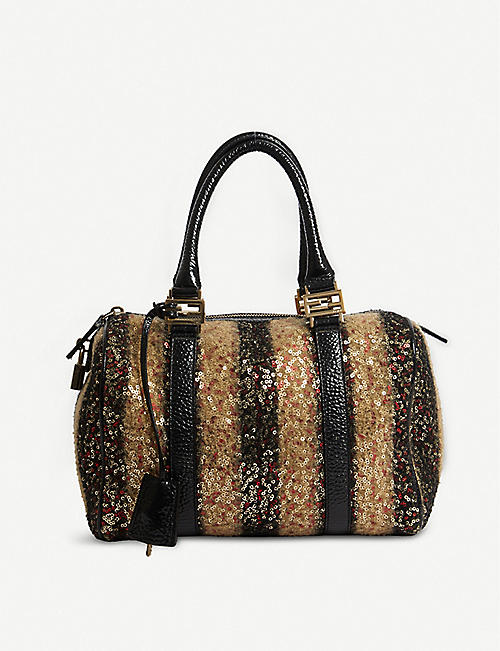 VESTIAIRE Fendi wool and leather handbag