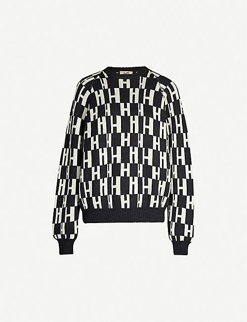 VESTIAIRE COLLECTIVE Hermès text-intarsia wool jumper
