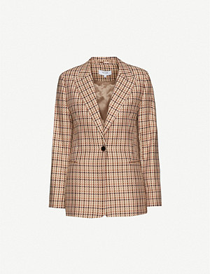 REISS Taylor houndstooth-print cotton-blend blazer