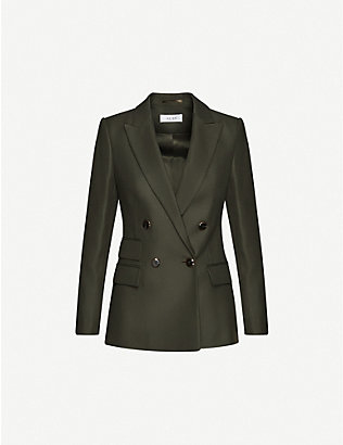 REISS: Ledbury double-breasted wool-blend blazer