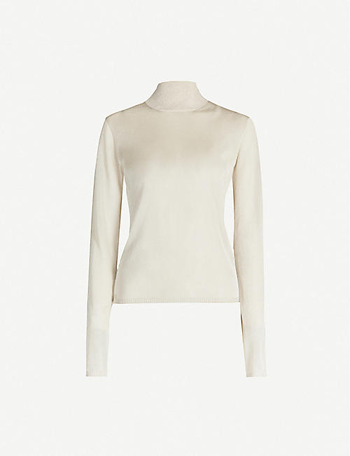 MAX MARA: Pietra turtleneck metallic knitted jumper