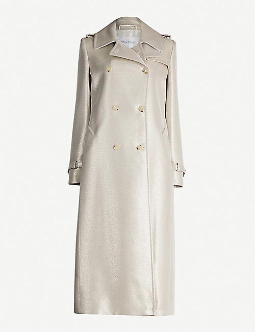 MAX MARA Belted double-breasted metallic-wool coat