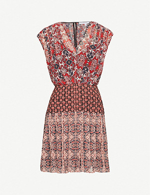 REISS Marcella abstract-print chiffon mini dress