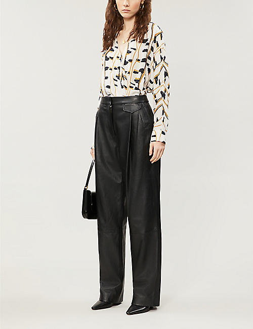 REISS March snake-print woven blouse
