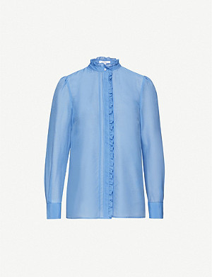 REISS Liddy cotton and silk-blend shirt