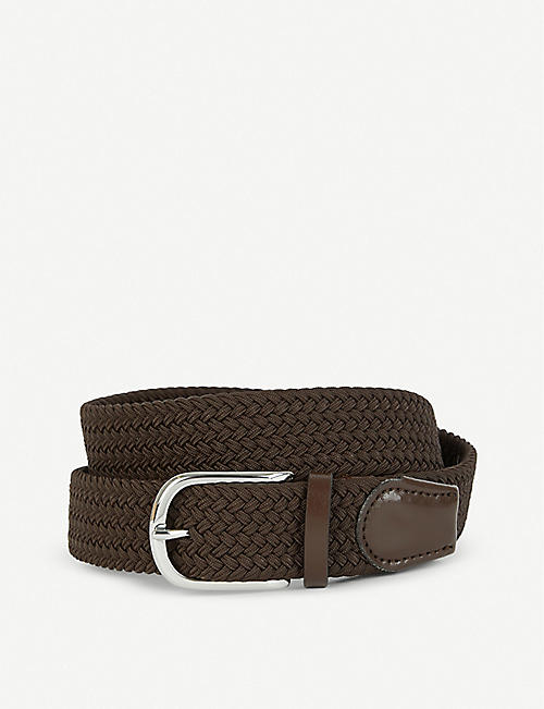 REISS: Elmont woven and leather belt