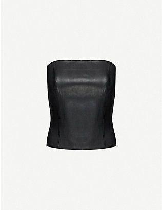 JITROIS: Strapless leather bustier top