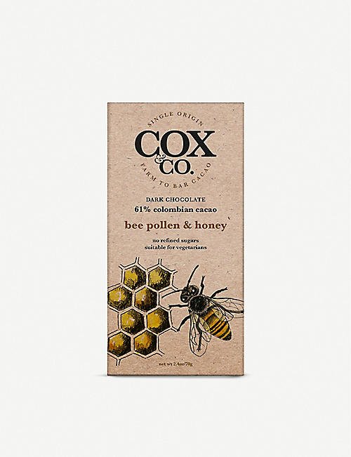 COX & CO: Bee Pollen and Honey dark chocolate bar 70g
