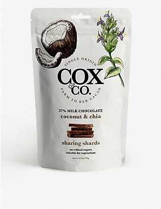 COX & CO: Milk chocolate, coconut and chia sharing shards 120g