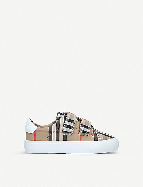 BURBERRY Markham check-print canvas trainers 0-3 years