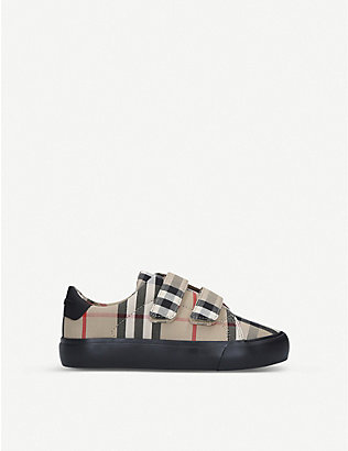 BURBERRY: Mini Markham check-print canvas trainers 3-4 years