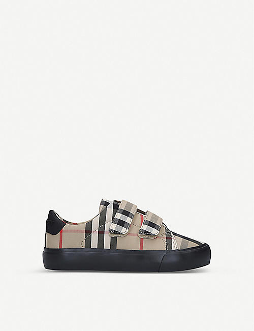 BURBERRY Mini Markham check-print canvas trainers 3-4 years