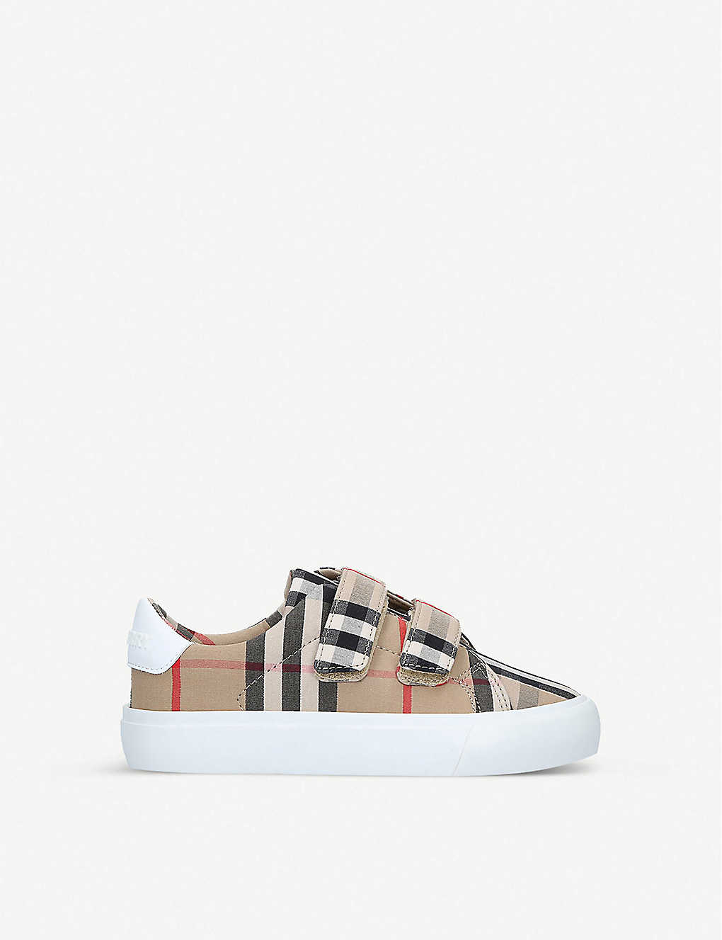 BURBERRY: Mini Markham checked canvas trainers 3-4 years