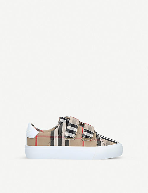 BURBERRY: Mini Markham checked canvas trainers 5-9 years