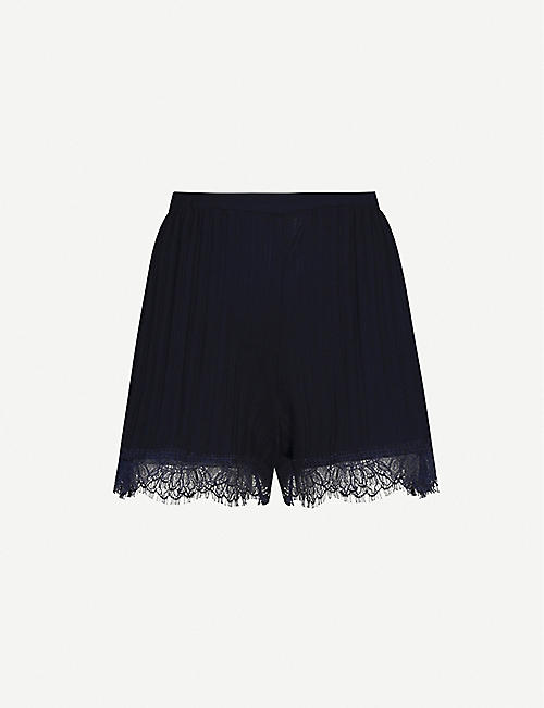 SKIN Bree lace-trimmed cotton-knit pyjama shorts