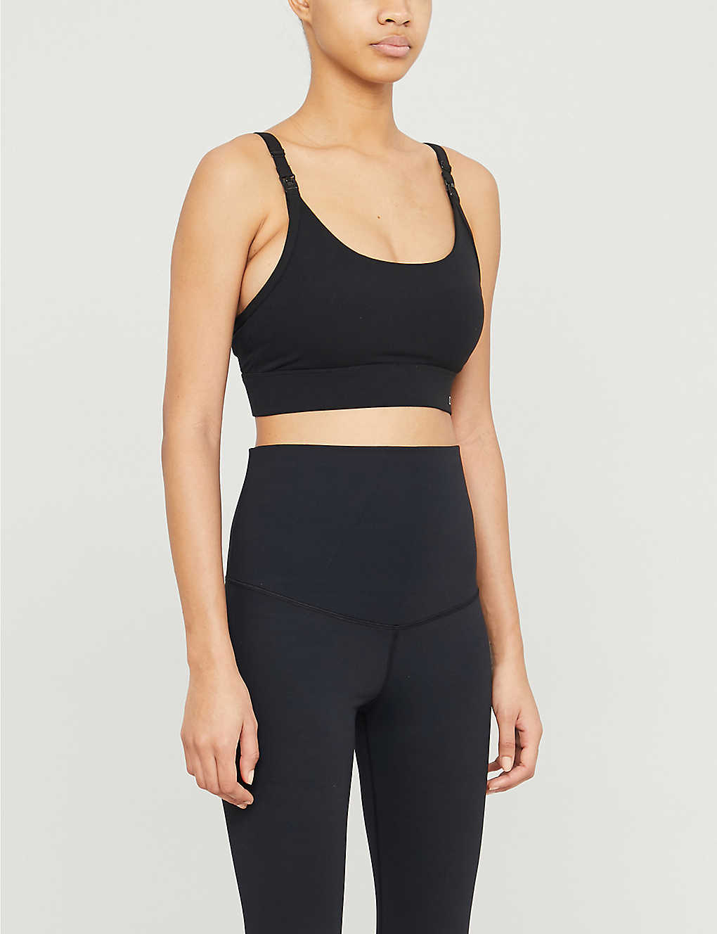 LORNA JANE: Core logo-print stretch-jersey maternity sports bra