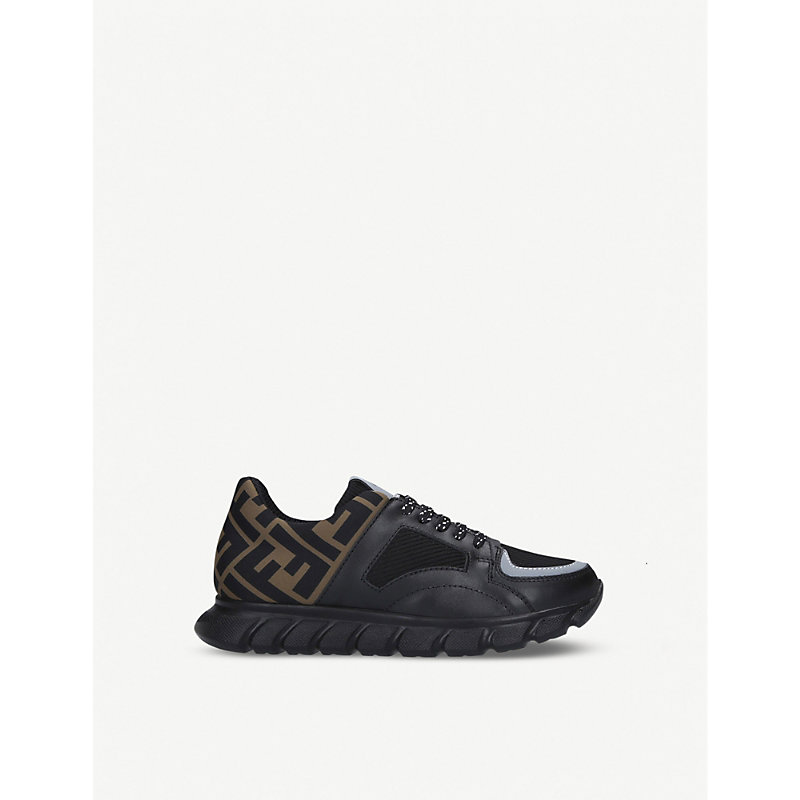 Fendi PUMP LOGO-EMBELLISHED LEATHER AND WOVEN TRAINERS 6-7 YEARS