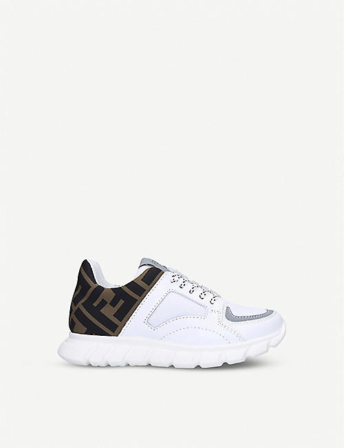 FENDI: Pump logo-embellished leather and woven trainers 6-7 years