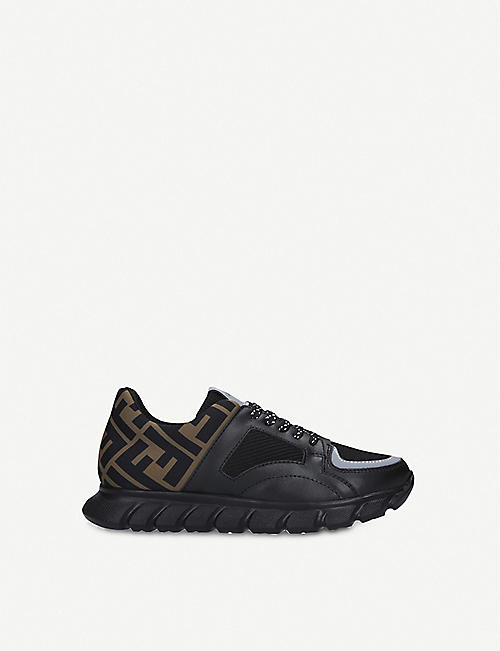 FENDI: Pump logo-embellished leather and woven trainers