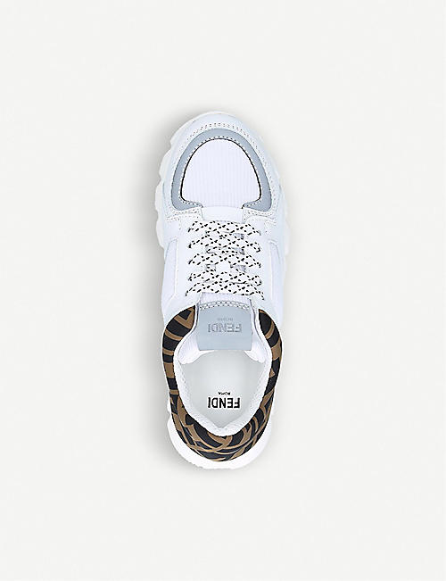 FENDI FF logo-print leather trainers 7-10 years