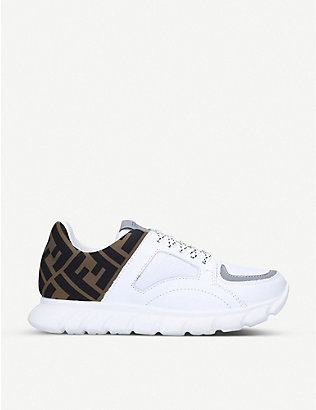 FENDI: FF logo-print leather trainers 7-10 years