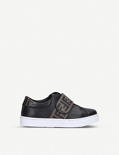 FENDI: FF leather velcro-fastening trainers size 6-9 years