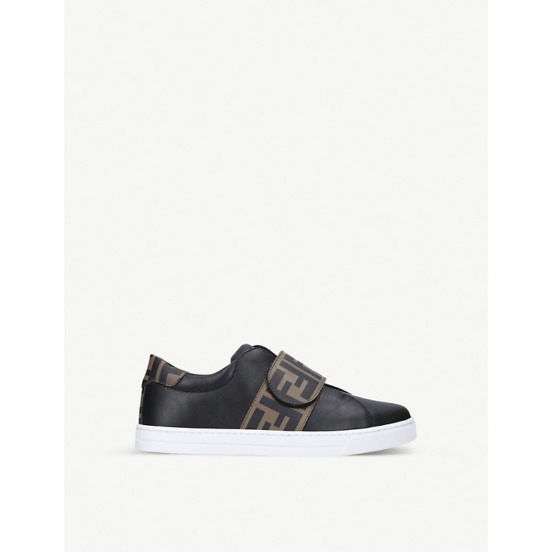 Fendi LOGO-PRINT LEATHER TRAINERS 3-7 YEARS
