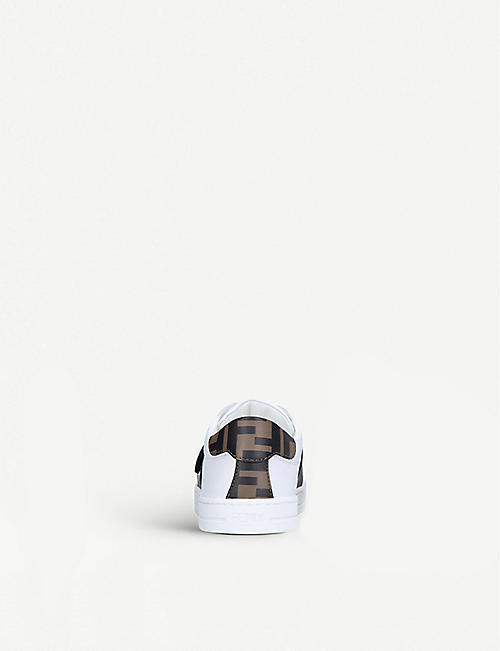 FENDI Logo-print leather trainers