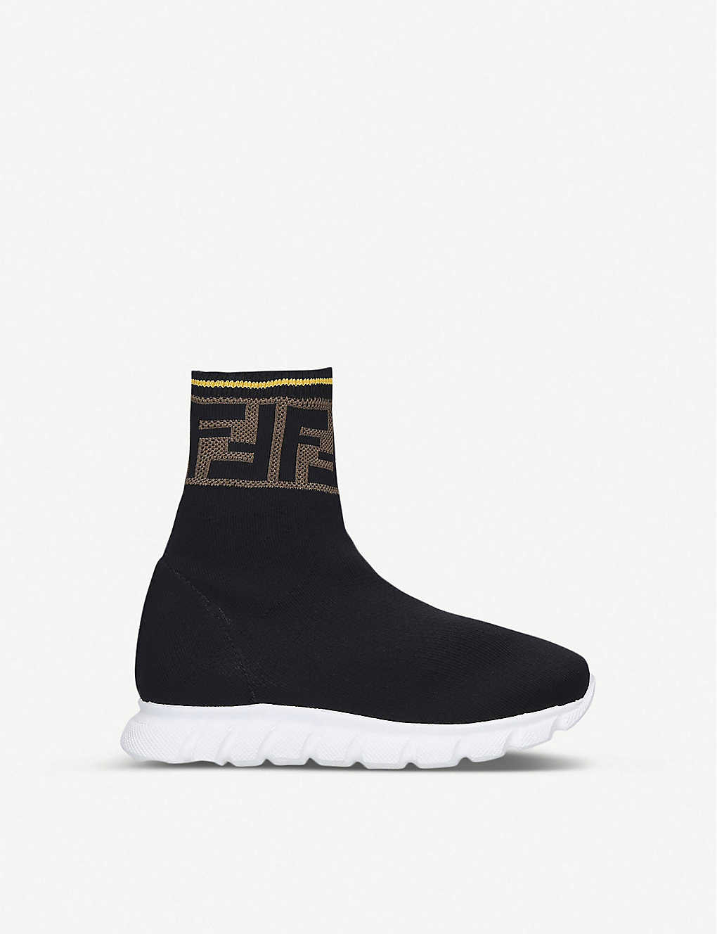 FENDI: FF-logo panel knit trainers 3-7 years