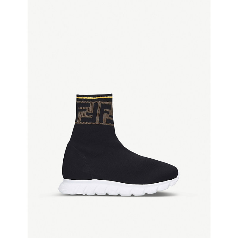 FENDI FF-LOGO PANEL KNIT TRAINERS 3-7 YEARS