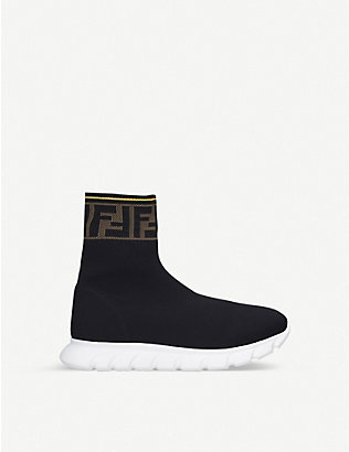 FENDI: Logo-trim knitted sock trainers 7-12 years