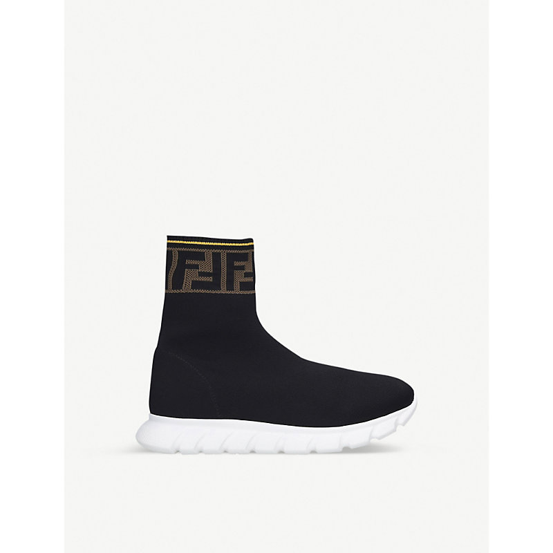 Fendi LOGO-TRIM KNITTED SOCK TRAINERS 7-12 YEARS