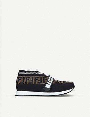 FENDI: FF Love leather low-top sneakers size 4-9 years