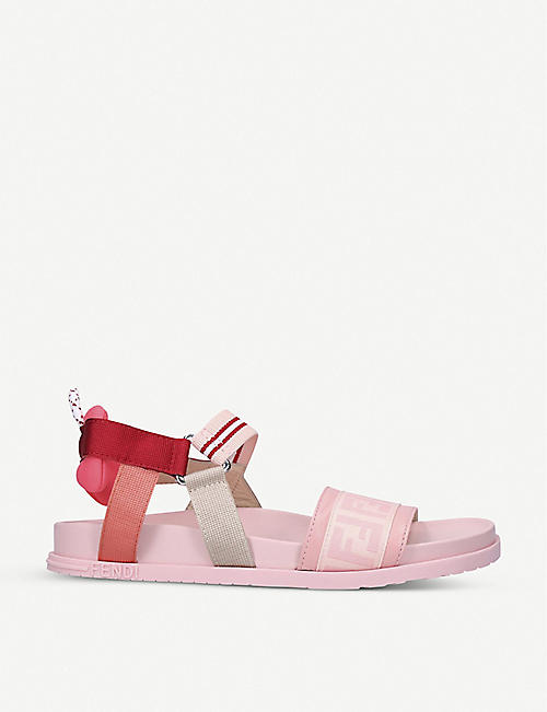 FENDI: FF logo-print elasticated sandals 7-10 years