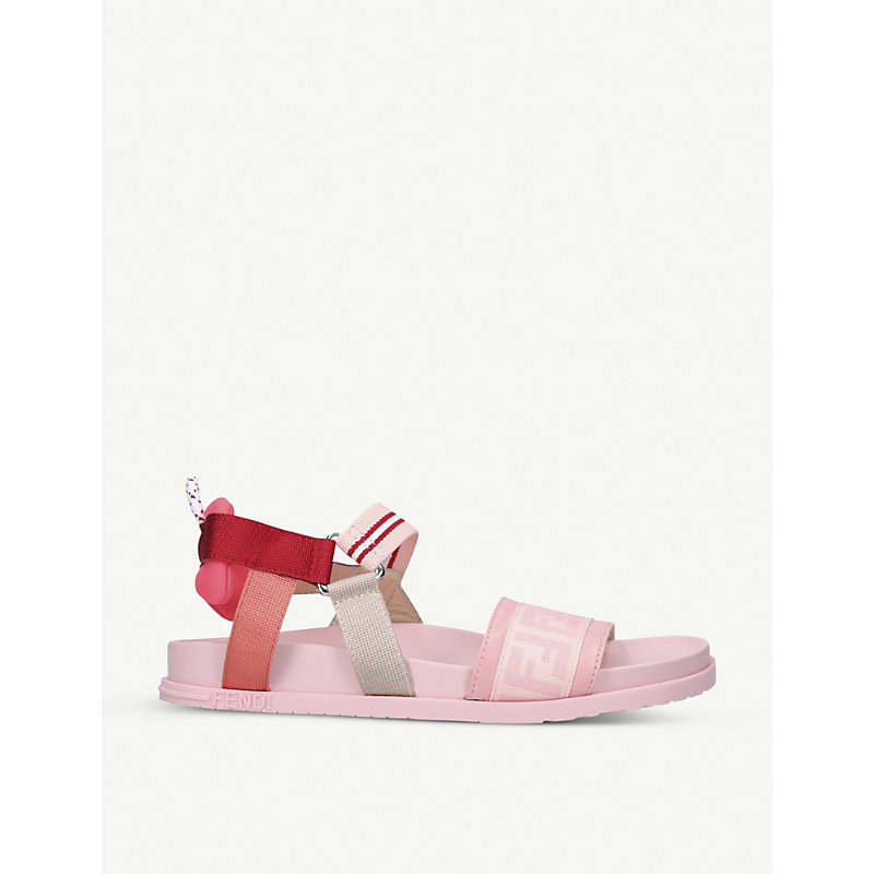 Fendi FF LOGO-PRINT ELASTICATED SANDALS 7-10 YEARS