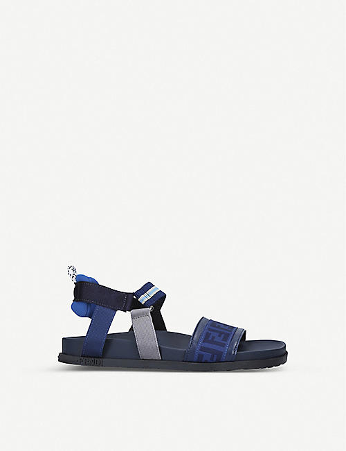 FENDI FF logo-print leather sandals 7-9 years