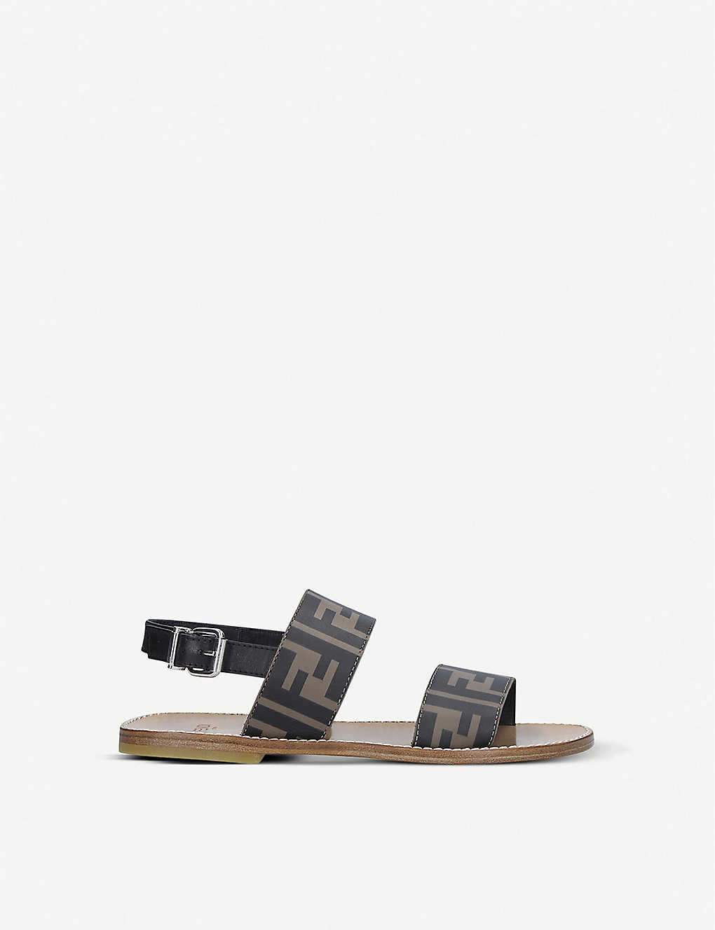 FENDI: FF logo-print leather sandals 3-7 years