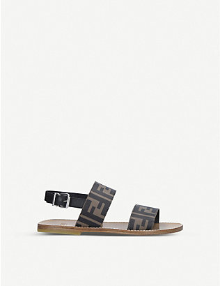FENDI: FF logo-print leather sandals 7-10 years