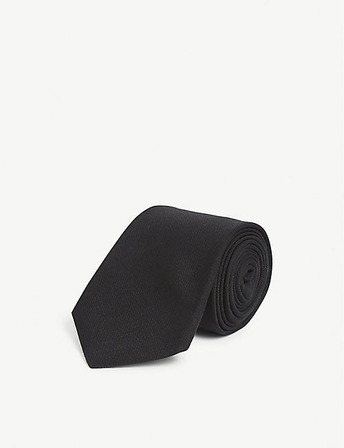 GUCCI: Logo patch woven wool-blend tie