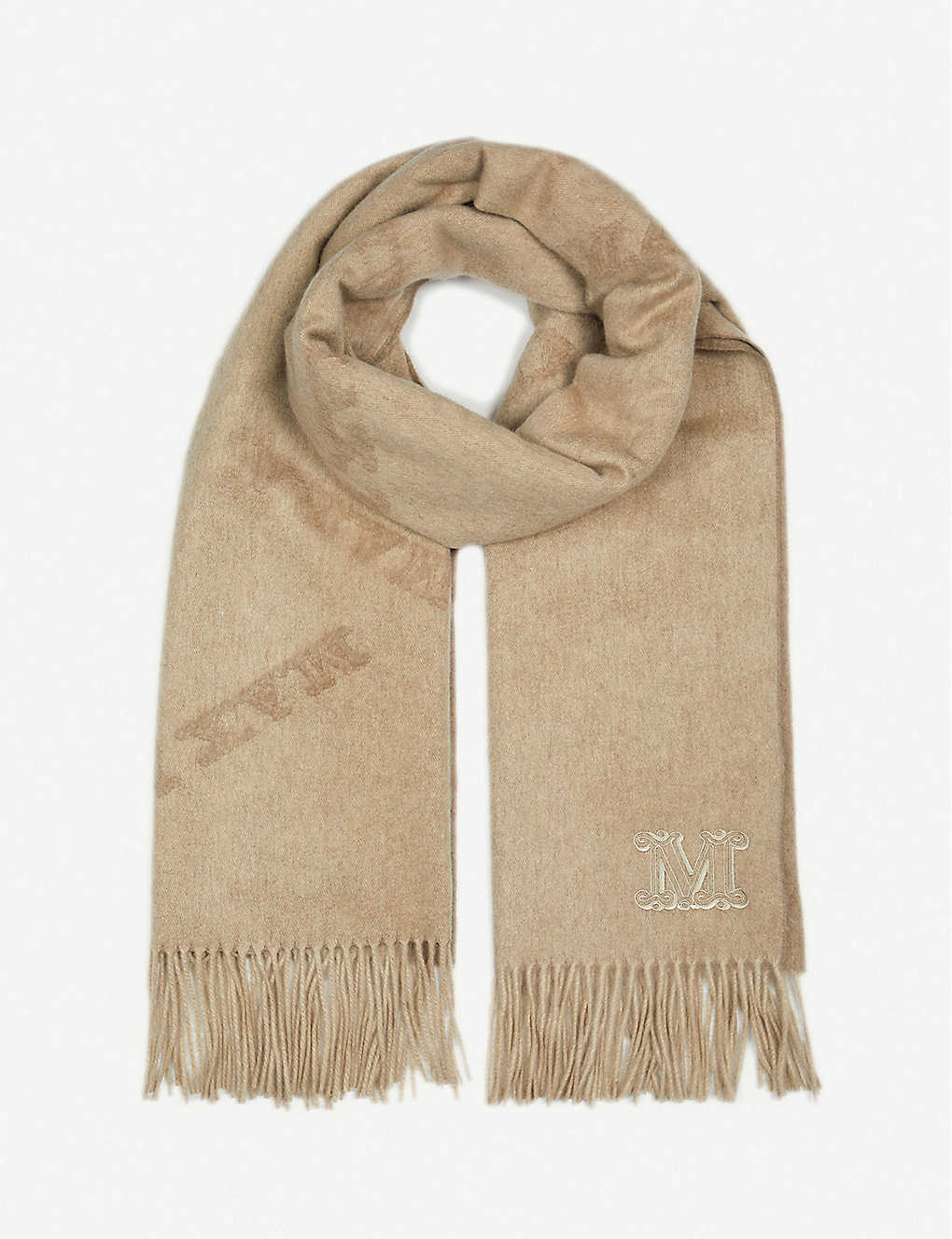 MAX MARA: Klaus logo-embroidered cashmere scarf