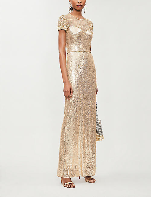 JENNY PACKHAM Delphine scoop-neck sequin-embellished gown