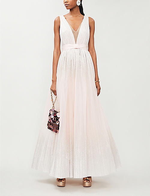 JENNY PACKHAM Romy sleeveless pleated metallic gown