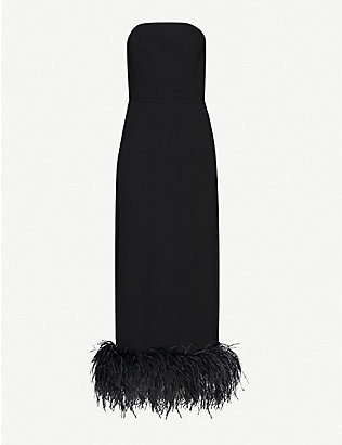16 ARLINGTON: Minelli feather-trimmed crepe midi dress
