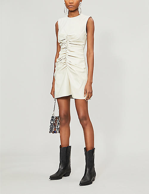16 ARLINGTON Ruched leather mini dress