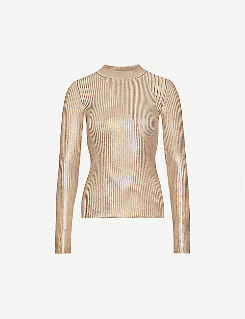 SPORTMAX Round-neck metallic-knit jumper