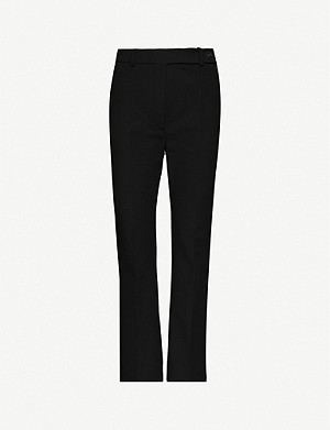 SPORTMAX Flared high-rise stretch-cotton trousers