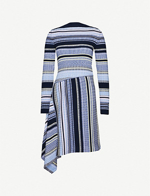 SPORTMAX Lama asymmetric striped stretch-knit midi dress